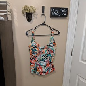 La Blanca Tankini Top Colorful Fun Design EUC